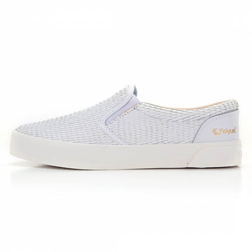 FE SLIP ON LEATHER DRAGON SCALE WHITE / F20059W