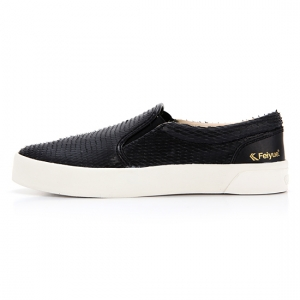 [UNISEX] FE SLIP ON / DRAGON SCALE LEATHER BLACK / F20060W