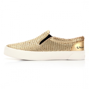 FE SLIP ON LEATHER DRAGON SCALE GOLD / F20061W