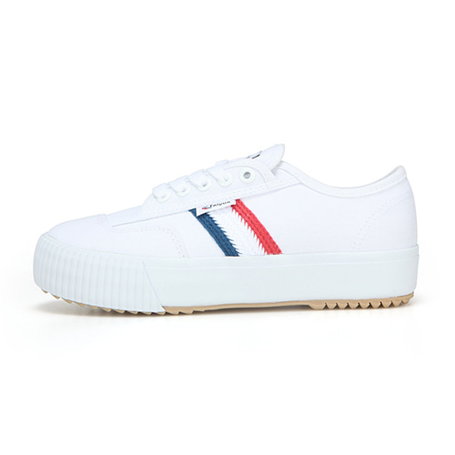 [UNISEX]FE LO PLAIN PLATFORM /WHITE CANVAS W/RED/WHITE/BLUE/FW100073